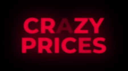 pricetag : Crazy Prices Text Blinking Flickering Neon Red Sign Promotional Loop Background. Sale, Discounts, Deals, Special Offers. Green Screen and Alpha Matte