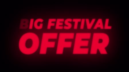 редактируемые : Big Festival Offer Text Blinking Flickering Neon Red Sign Promotional Loop Background. Sale, Discounts, Deals, Special Offers. Green Screen and Alpha Matte
