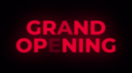 soon : Grand Opening Text Blinking Flickering Neon Red Sign Promotional Loop Background. Sale, Discounts, Deals, Special Offers. Green Screen and Alpha Matte