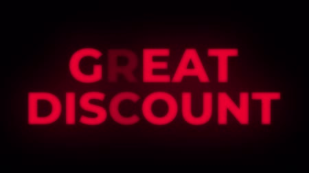 okładka : Great Discount Text Blinking Flickering Neon Red Sign Promotional Loop Background. Sale, Discounts, Deals, Special Offers. Green Screen and Alpha Matte