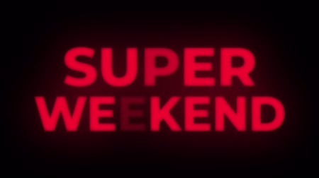 cupom : Super Weekend Text Blinking Flickering Neon Red Sign Promotional Loop Background. Sale, Discounts, Deals, Special Offers. Green Screen and Alpha Matte