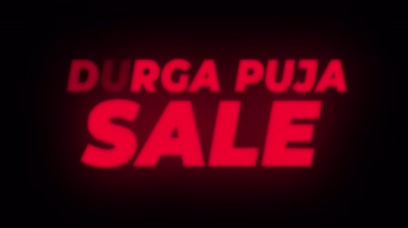 puja : Durga Puja Sale Text Blinking Flickering Neon Red Sign Promotional Loop Background. Sale, Discounts, Deals, Special Offers. Green Screen and Alpha Matte
