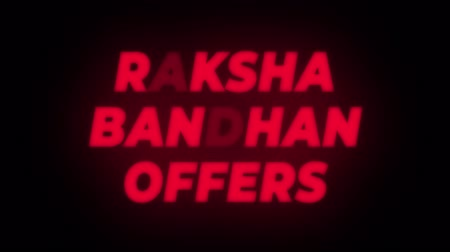 wristband : Raksha Bandhan Offers Text Blinking Flickering Neon Red Sign Promotional Loop Background. Sale, Discounts, Deals, Special Offers. Green Screen and Alpha Matte