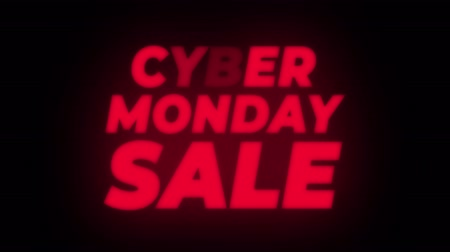 product promo : Cyber Monday Sale Text Blinking Flickering Neon Red Sign Promotional Loop Background. Sale, Discounts, Deals, Special Offers. Green Screen and Alpha Matte Stock Footage