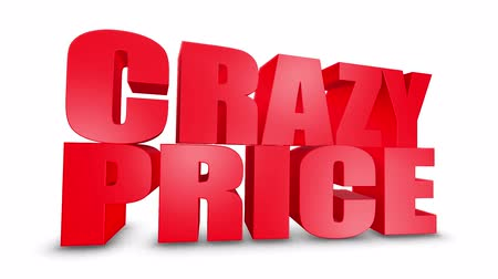 pricetag : Crazy Price 3D Text on White Alpha Channel Green Screen. Advertising Promotion Discount Offer Sale 3D Animation Render.