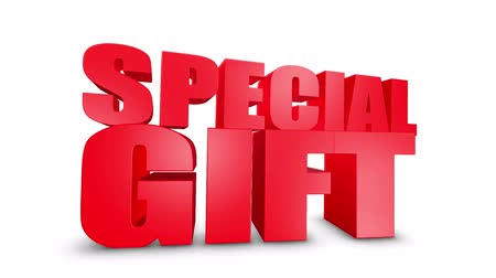 box set : Special Gift 3D Text on White Alpha Channel Green Screen. Advertising Promotion Discount Offer Sale 3D Animation Render.