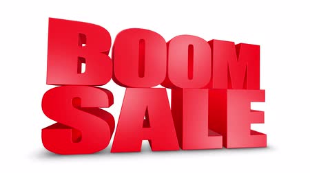 comics pop : Boom Sale 3D Text on White Alpha Channel Green Screen. Advertising Promotion Discount Offer Sale 3D Animation Render.