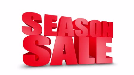jelenleg : Season Sale 3D Text on White Alpha Channel Green Screen. Advertising Promotion Discount Offer Sale 3D Animation Render.