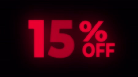 dnes : 15% Percent Off Text Blinking & Flickering Neon Red Sign Promotional Loop Background. Sale, Discounts, Deals, Special Offers. Green Screen and Alpha Matte