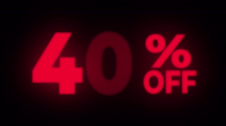 čtyřicátá léta : 40% Percent Off Text Blinking & Flickering Neon Red Sign Promotional Loop Background. Sale, Discounts, Deals, Special Offers. Green Screen and Alpha Matte Dostupné videozáznamy