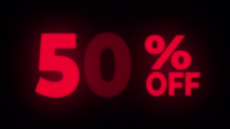 hoje : 50% Percent Off Text Blinking & Flickering Neon Red Sign Promotional Loop Background. Sale, Discounts, Deals, Special Offers. Green Screen and Alpha Matte