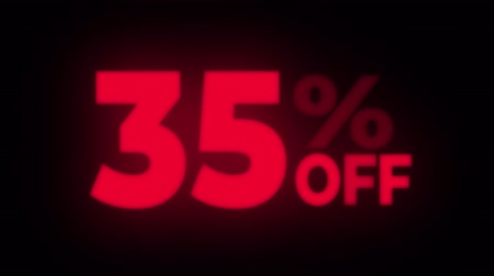 неделя : 35% Percent Off Text Blinking & Flickering Neon Red Sign Promotional Loop Background. Sale, Discounts, Deals, Special Offers. Green Screen and Alpha Matte