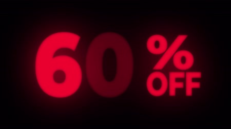 неделя : 60% Percent Off Text Blinking & Flickering Neon Red Sign Promotional Loop Background. Sale, Discounts, Deals, Special Offers. Green Screen and Alpha Matte