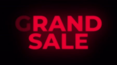 jelenleg : Grand Sale Text Blinking & Flickering Neon Red Sign Promotional Loop Background. Sale, Discounts, Deals, Special Offers. Green Screen and Alpha Matte