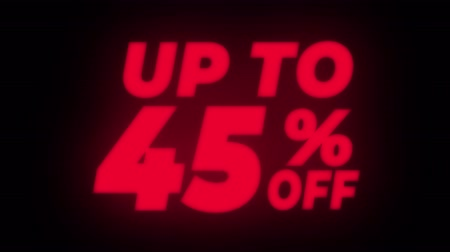 неделя : Up To 45% Percent Off Text Blinking & Flickering Neon Red Sign Promotional Loop Background. Sale, Discounts, Deals, Special Offers. Green Screen and Alpha Matte
