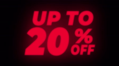 hoje : Up To 20% Percent Off Text Blinking & Flickering Neon Red Sign Promotional Loop Background. Sale, Discounts, Deals, Special Offers. Green Screen and Alpha Matte Vídeos