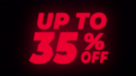 erkeklere özel : Up To 35% Percent Off Text Blinking & Flickering Neon Red Sign Promotional Loop Background. Sale, Discounts, Deals, Special Offers. Green Screen and Alpha Matte