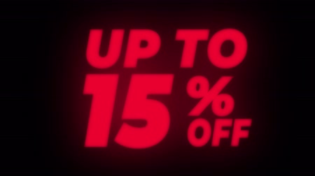 hoje : Up To 15% Percent Off Text Blinking & Flickering Neon Red Sign Promotional Loop Background. Sale, Discounts, Deals, Special Offers. Green Screen and Alpha Matte