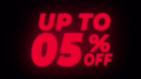 hoje : Up To 05% Percent Off Text Blinking & Flickering Neon Red Sign Promotional Loop Background. Sale, Discounts, Deals, Special Offers. Green Screen and Alpha Matte