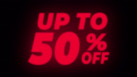 fifty : Up To 50 % Percent Off Text Blinking & Flickering Neon Red Sign Promotional Loop Background. Sale, Discounts, Deals, Special Offers. Green Screen and Alpha Matte Stock Footage