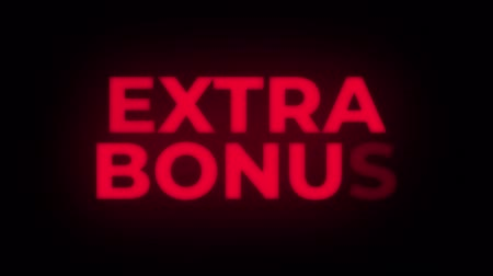 ekstra : Extra Bonus Text Blinking & Flickering Neon Red Sign Promotional Loop Background. Sale, Discounts, Deals, Special Offers. Green Screen and Alpha Matte Stok Video