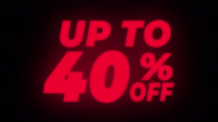 čtyřicet : Up To 40% Percent Off Text Blinking & Flickering Neon Red Sign Promotional Loop Background. Sale, Discounts, Deals, Special Offers. Green Screen and Alpha Matte