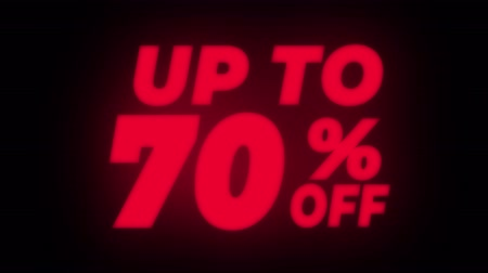 hoje : Up To 70% Percent Off Text Blinking & Flickering Neon Red Sign Promotional Loop Background. Sale, Discounts, Deals, Special Offers. Green Screen and Alpha Matte