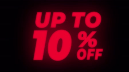 hoje : Up To 10% Percent Off Text Blinking & Flickering Neon Red Sign Promotional Loop Background. Sale, Discounts, Deals, Special Offers. Green Screen and Alpha Matte