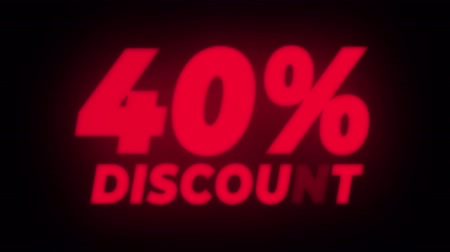 čtyřicátá léta : 40% Percent Discount Text Blinking & Flickering Neon Red Sign Promotional Loop Background. Sale, Discounts, Deals, Special Offers. Green Screen and Alpha Matte