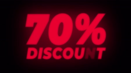 неделя : 70% Percent Discount Text Blinking & Flickering Neon Red Sign Promotional Loop Background. Sale, Discounts, Deals, Special Offers. Green Screen and Alpha Matte Стоковые видеозаписи