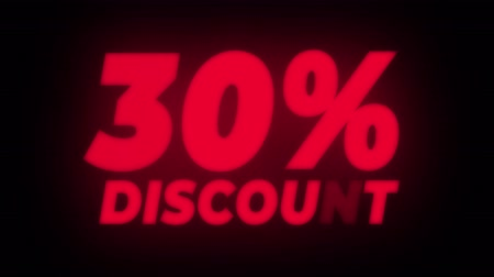 erkeklere özel : 30% Percent Discount Text Blinking & Flickering Neon Red Sign Promotional Loop Background. Sale, Discounts, Deals, Special Offers. Green Screen and Alpha Matte Stok Video