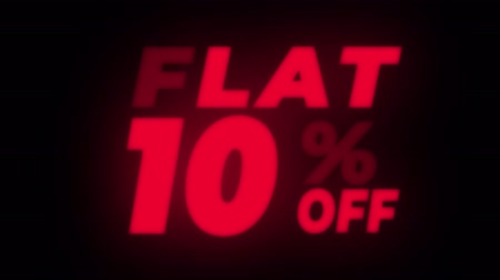 неделя : Flat 10 % Percent Off Text Blinking & Flickering Neon Red Sign Promotional Loop Background. Sale, Discounts, Deals, Special Offers. Green Screen and Alpha Matte