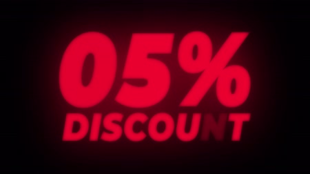hoje : 05% Percent Discount Text Blinking & Flickering Neon Red Sign Promotional Loop Background. Sale, Discounts, Deals, Special Offers. Green Screen and Alpha Matte Vídeos