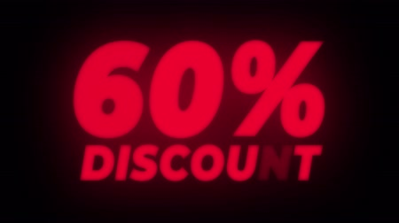 hoje : 60% Percent Discount Text Blinking & Flickering Neon Red Sign Promotional Loop Background. Sale, Discounts, Deals, Special Offers. Green Screen and Alpha Matte Vídeos