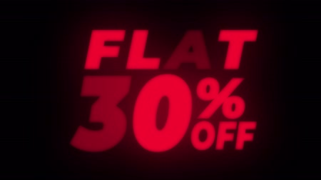 hoje : Flat 30% Percent Off Text Blinking & Flickering Neon Red Sign Promotional Loop Background. Sale, Discounts, Deals, Special Offers. Green Screen and Alpha Matte