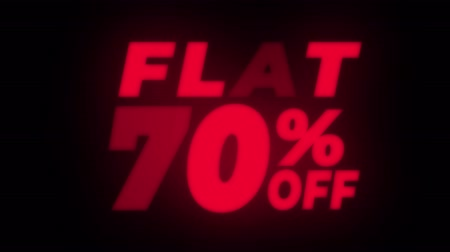 dnes : Flat 70 Percent Off Text Blinking & Flickering Neon Red Sign Promotional Loop Background. Sale, Discounts, Deals, Special Offers. Green Screen and Alpha Matte Dostupné videozáznamy