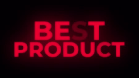 metka : Best Product Text Blinking & Flickering Neon Red Sign Promotional Loop Background. Sale, Discounts, Deals, Special Offers. Green Screen and Alpha Matte Wideo