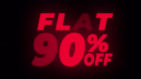 неделя : Flat 90% Percent Off Text Blinking & Flickering Neon Red Sign Promotional Loop Background. Sale, Discounts, Deals, Special Offers. Green Screen and Alpha Matte