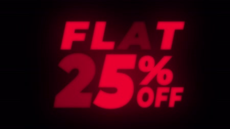 неделя : Flat 25% Percent Off Text Blinking & Flickering Neon Red Sign Promotional Loop Background. Sale, Discounts, Deals, Special Offers. Green Screen and Alpha Matte