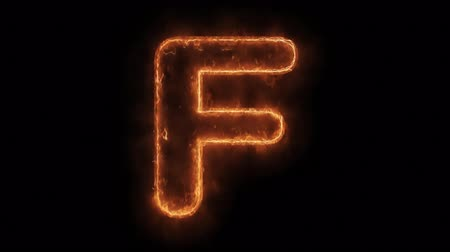 letter f : Alphabet F Word Hot Animated Burning Realistic Fire Flame and Smoke Seamlessly loop Animation on Isolated Black Background. Fire Word, Fire Text, Flame word, Flame Text, Burning Word, Burning Text. Stock Footage