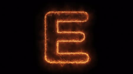 betűrendes : Alphabet E Word Hot Animated Burning Realistic Fire Flame and Smoke Seamlessly loop Animation on Isolated Black Background. Fire Word, Fire Text, Flame word, Flame Text, Burning Word, Burning Text.
