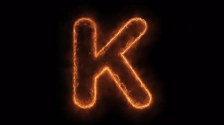 kaligrafia : Alphabet K Word Hot Animated Burning Realistic Fire Flame and Smoke Seamlessly loop Animation on Isolated Black Background. Fire Word, Fire Text, Flame word, Flame Text, Burning Word, Burning Text. Wideo