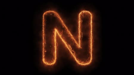 betűrendes : Alphabet N Word Hot Animated Burning Realistic Fire Flame and Smoke Seamlessly loop Animation on Isolated Black Background. Fire Word, Fire Text, Flame word, Flame Text, Burning Word, Burning Text.