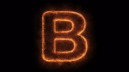 pravidelný : Alphabet B Word Hot Animated Burning Realistic Fire Flame and Smoke Seamlessly loop Animation on Isolated Black Background. Fire Word, Fire Text, Flame word, Flame Text, Burning Word, Burning Text.