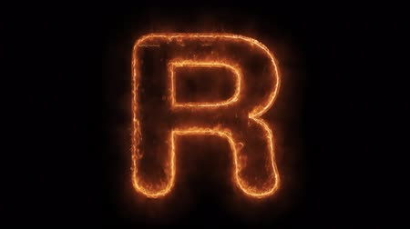 strojopis : Alphabet R Word Hot Animated Burning Realistic Fire Flame and Smoke Seamlessly loop Animation on Isolated Black Background. Fire Word, Fire Text, Flame word, Flame Text, Burning Word, Burning Text.