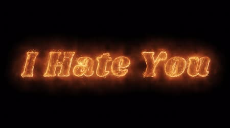 hatred : I Hate You Word Hot Animated Burning Realistic Fire Flame and Smoke Seamlessly loop Animation on Isolated Black Background. Fire Word, Fire Text, Flame word, Flame Text, Burning Word, Burning Text.
