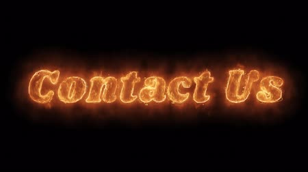 suporte : Contact Us Word Hot Animated Burning Realistic Fire Flame and Smoke Seamlessly loop Animation on Isolated Black Background. Fire Word, Fire Text, Flame word, Flame Text, Burning Word, Burning Text.