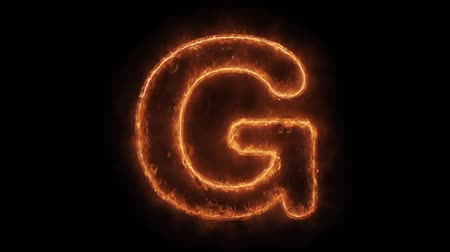 gêmeo : Alphabet G Word Hot Animated Burning Realistic Fire Flame and Smoke Seamlessly loop Animation on Isolated Black Background. Fire Word, Fire Text, Flame word, Flame Text, Burning Word, Burning Text.