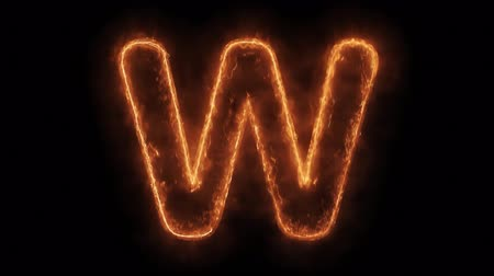 letter w : Alphabet W Word Hot Animated Burning Realistic Fire Flame and Smoke Seamlessly loop Animation on Isolated Black Background. Fire Word, Fire Text, Flame word, Flame Text, Burning Word, Burning Text.