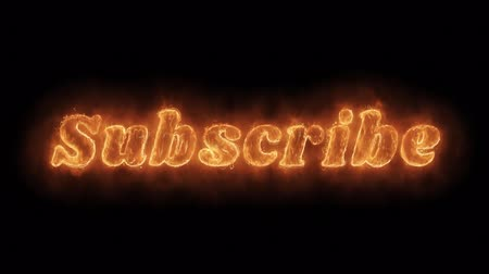 registrar : Subscribe Word Hot Animated Burning Realistic Fire Flame and Smoke Seamlessly loop Animation on Isolated Black Background. Fire Word, Fire Text, Flame word, Flame Text, Burning Word, Burning Text.